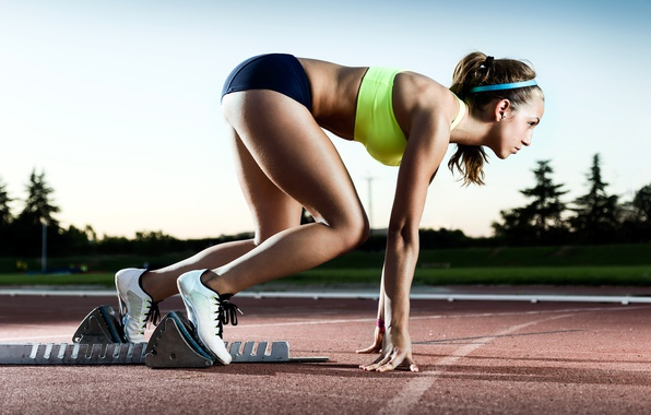 Picture woman, speed, track, pose, run, start, Training, concentration, coordination