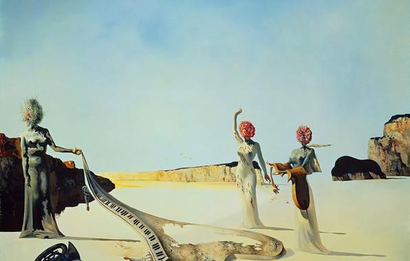 Photo wallpaper surrealism, picture, Salvador Dali, Salvador Dali, Three Young Surrealist Women