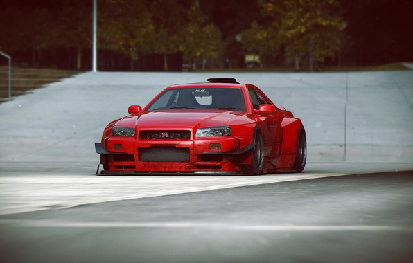 Photo wallpaper design, car, scifi, V12 R34-GTR, red-dirty