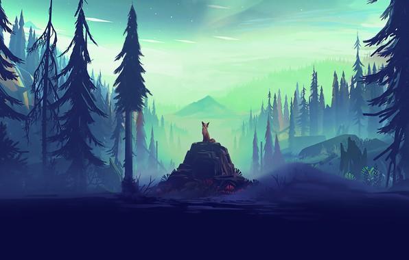 Picture forest, fox, trees, landscape, nature, rocks, animal, artist, digital art, horizon, mist, illustration, pine, pine …
