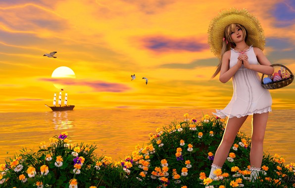 Picture girl, sunset, flowers
