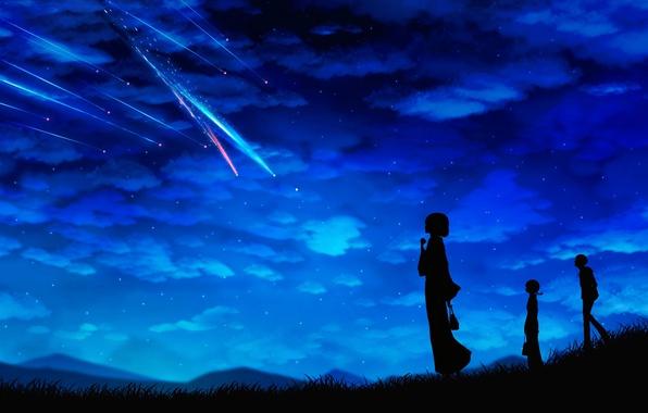 Picture the sky, stars, clouds, night, girls, anime, guy, shooting star, Miyuki Harada, miyamizu mitsuha, Kimi …