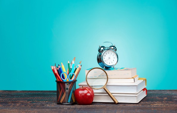 Picture table, background, watch, books, Apple, pencils, alarm clock, magnifier, scissors, brush, the office