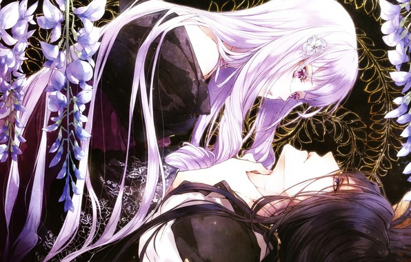 Picture tears, kimono, two, long hair, art, visual novel, Wisteria, hubert, queen of the flowers, kagerou …