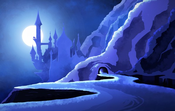 Picture road, blue, castle, blue, the moon, mountain, cave, blue, MLP, Luna, mount, My little Pony …