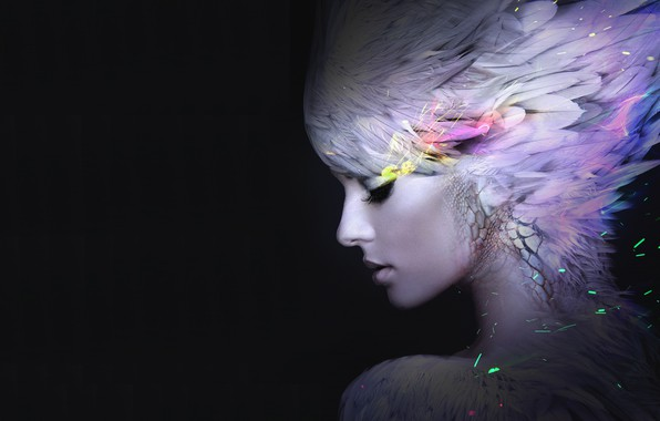 Picture girl, feathers, art, profile, black background, fatastika