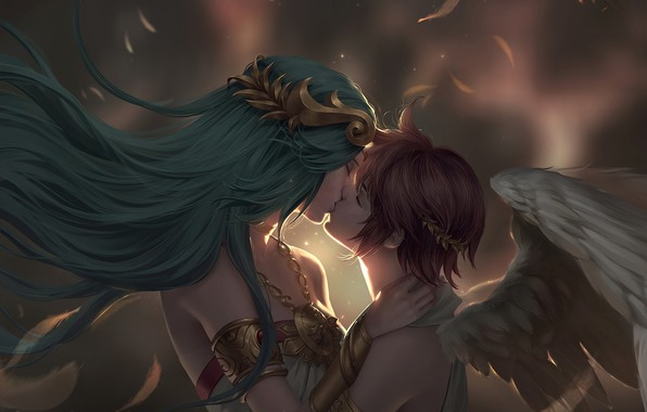 Picture meeting, kiss, angel, pair, fantasy, date, Chuby Mi, Commission - Palutena and Pit