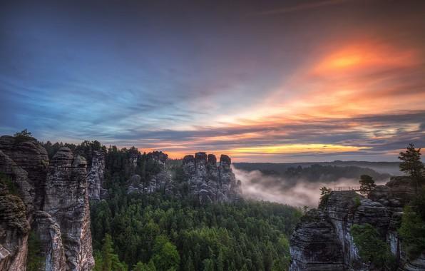 Picture sunset, Germany, Saxon Switzerland, Bastei, Sandstone mountains