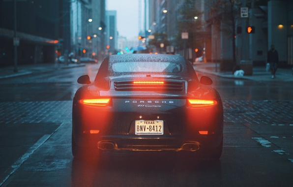 Photo wallpaper city, lights, 911, road, rain, buldings, Porsche 911 Carrera