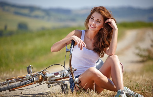 Picture look, bike, smile, mood, relax, woman, positive, beautiful, style, bokeh, wallpaper., beautiful background, Isabela, romantic …