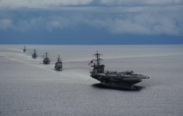 "Picture sea, ship, the carrier, USA, destroyer, ""Arleigh Burke"", us aircraft carrier, USS Nimitz (CVN-68)"