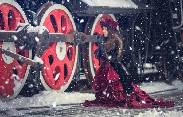 Picture winter, girl, snow, style, the engine, the situation, dress, plea, Anna Karenina, Anna Djibouti
