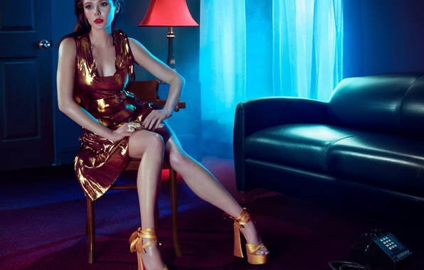 Picture light, room, sofa, makeup, dress, actress, brunette, window, hairstyle, shoes, lies, curtains, phone, legs, beauty, …
