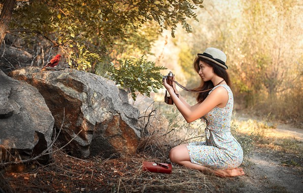 Picture girl, nature, bird, Maks Kuzin, young photographer