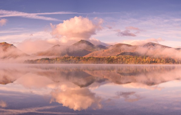 Photo wallpaper clouds, mountains, lake, England, Cumbria