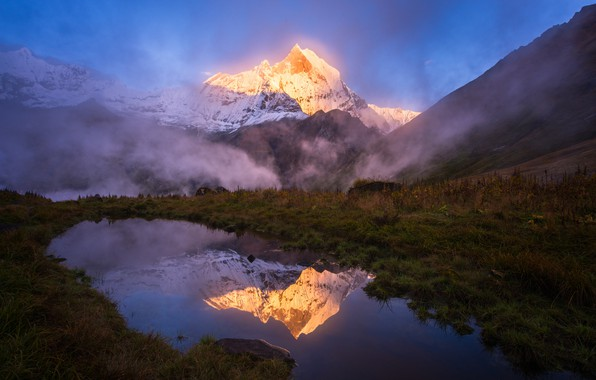 Picture water, light, mountains, nature, lake, reflection, mountain, top, The Himalayas