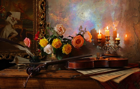 Picture flowers, notes, pen, violin, roses, picture, candles, vase, table, still life, ink, Andrey Morozov, Andrey …