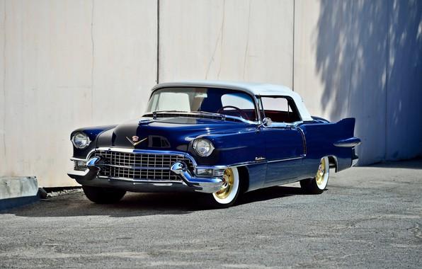 Picture Eldorado, Cadillac, vintage, convertible, blue, old, classic, 1955