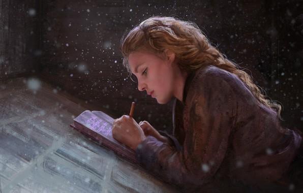 Picture girl, fantasy, magic, snow, braid, painting, artist, blonde, artwork, fantasy art, books, writing, painting art, …