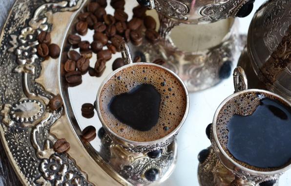Picture heart, coffee, Cup, drink, foam