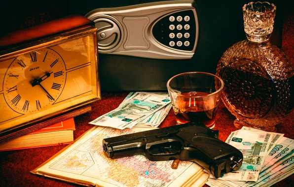 Picture gun, table, watch, books, bottle, money, cartridge, stack, Atlas, bills, rubles, alcohol