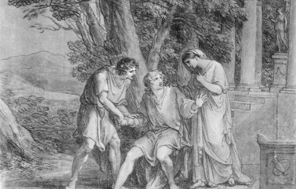 Picture black and white, 1802, Angelica Kaufman, Iphigenia in Tauris, The scene from Goethe