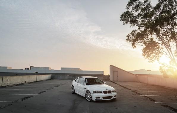 Picture BMW, White, E46, 3/4