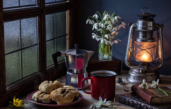 Wallpaper Books Lamp Coffee Cookies Window Snowdrops