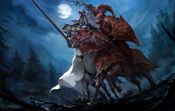 Picture moon, fantasy, forest, armor, trees, night, horses, battle, castle, weapons, artwork, shield, swords, fantasy art, …