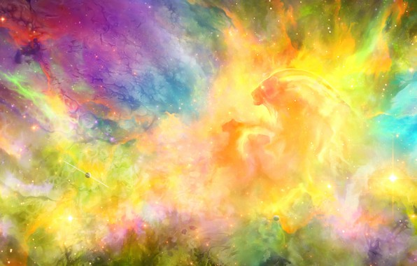 Picture space, stars, lioness, lion
