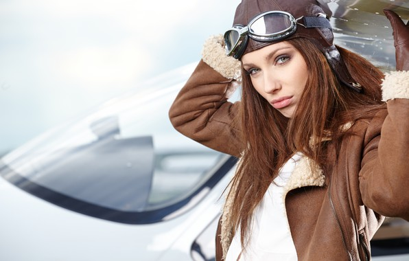 Picture look, pose, portrait, makeup, wing, glasses, jacket, hairstyle, gloves, helmet, pilot, brown hair, beauty, the …
