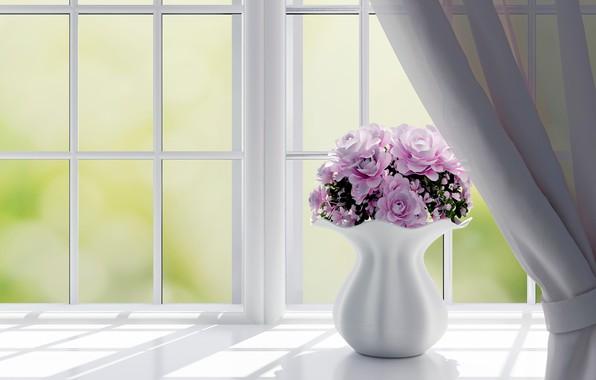 Picture flowers, roses, window, vase