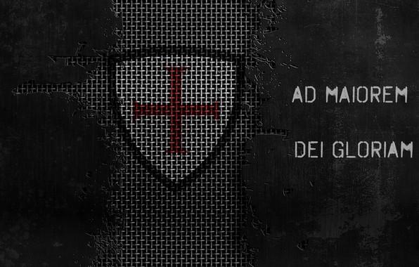 Picture grid, cross, jesus christ, templar, motto, metallic background