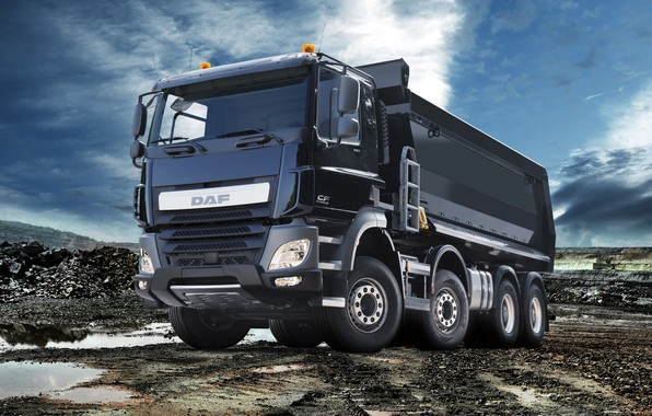Picture the sky, clouds, black, puddles, body, breed, DAF, DAF, quarry, dump truck, 8x4, Euro6, DAF …