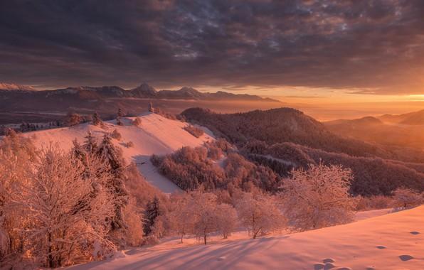 Picture winter, snow, trees, sunset, mountains, Church, Slovenia, Slovenia, The Julian Alps, Julian Alps, Kranj, Kranj, …