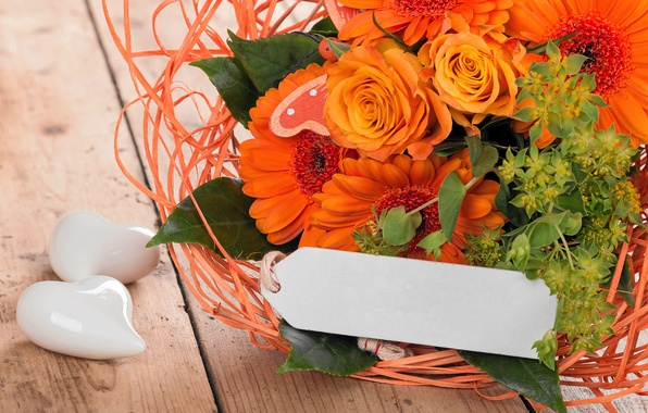 Picture flowers, roses, bouquet, love, gerbera, wood, romantic, hearts, orange, spring, roses, gerbera