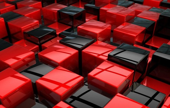 Picture red, cubes, black, texture