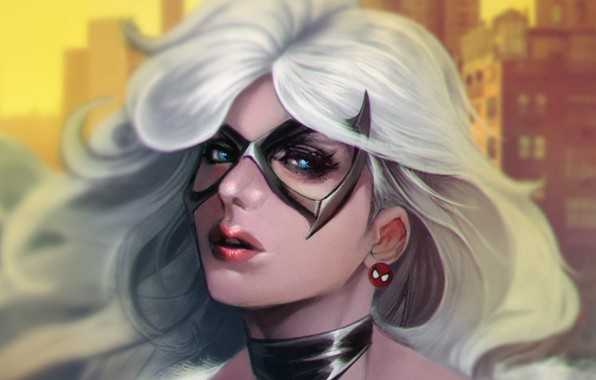 Picture girl, face, mask, art, marvel, Spider-Man, black cat