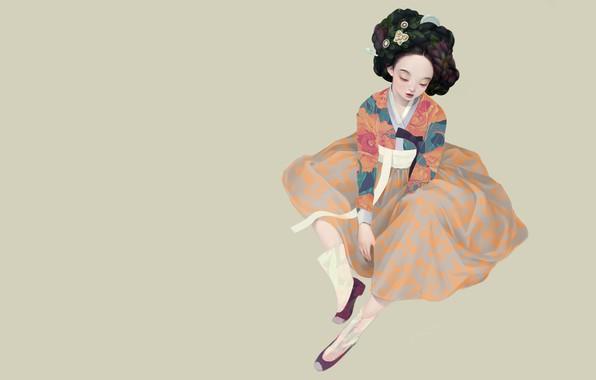 Picture art, geisha, Korean geisha, Siwo Believes Kim