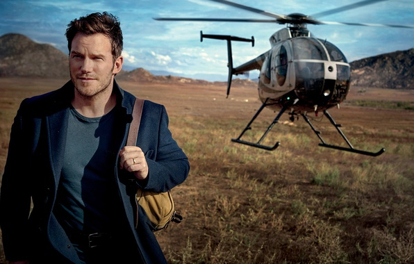 Picture field, landscape, helicopter, actor, backpack, coat, Vanity Fair, Chris Pratt, 2017, Mark Seliger, Chris Pratt