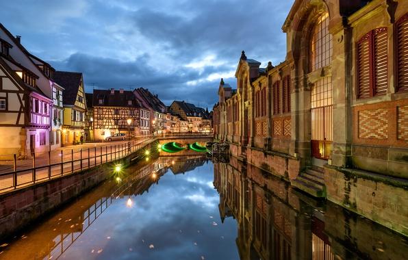 Picture lights, France, the evening, channel, Colmar, Venise