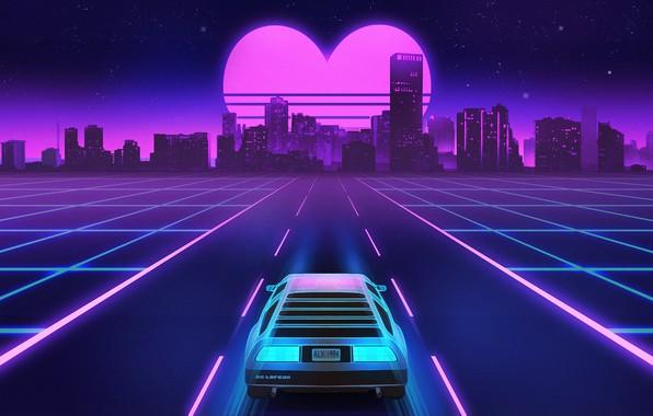 Picture Road, Night, Music, The city, Heart, Stars, Neon, Background, DeLorean DMC-12, DeLorean, DMC-12, Electronic, Synthpop, …