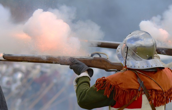 Picture smoke, soldiers, shooting, helmet, guns, military reconstruction