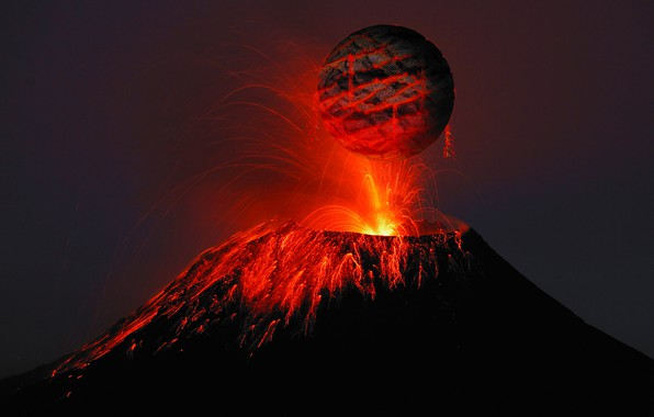 Picture fire, Apocalypse, disaster, lava, death, the eruption of the volcano, black planet