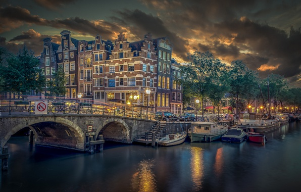 Picture bridge, building, boats, pier, Amsterdam, channel, Netherlands, Amsterdam, Netherlands, Brouwersgracht, Channel Brouwersgracht