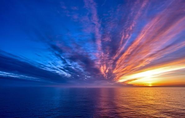 Picture twilight, sky, sea, landscape, nature, water, clouds, sun, Sunrise