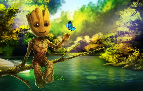 Picture cinema, movie, film, artwork, Guardians of the Galaxy, Groot, Baby Groot