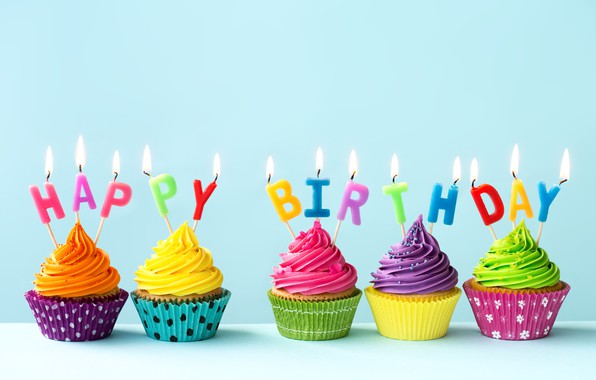 Photo Wallpaper Candles Colorful Rainbow Cake Cream Happy Birthday Colours