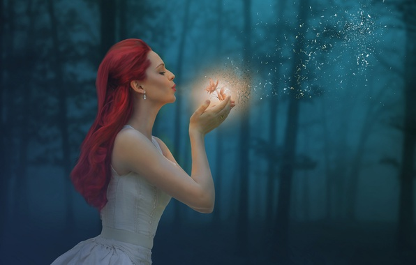 Picture forest, girl, butterfly, mood, magic