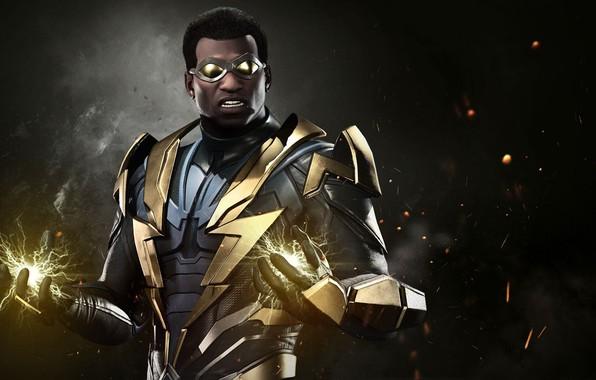 Picture game, lightning, hero, suit, DC Comics, uniform, spark, super hero, Injustice 2, DC, Black Lightning